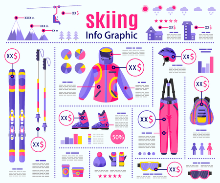 Skiing, winter sport infographic, data presentation template design, flat vector illustration isolated on background. Flat vector skiing infographics layout, data presentation elements