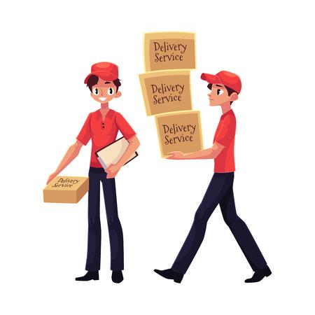 Koerier, pakket van de de holdingspakket van de leveringsdienst, die stapel van dozen, handkar met dozen, beeldverhaal vectordieillustratie dragen op witte achtergrond wordt geïsoleerd. Portret van de volledige lengte van de jonge bezorgservice