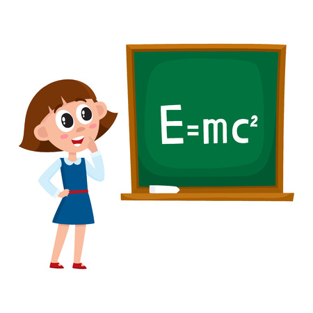 School girl answering at physics lesson, standing at blackboard, cartoon vector illustration isolated on white background. Girl answering at physics lessons, back to school, learning concept