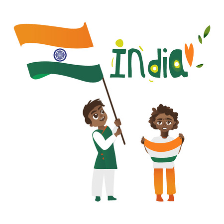 Two boys, kids, teenagers with Indian flags and India country name lettering, cartoon vector illustration isolated on white background. Indian boys holding national tricolor flag, India country name Ilustrace