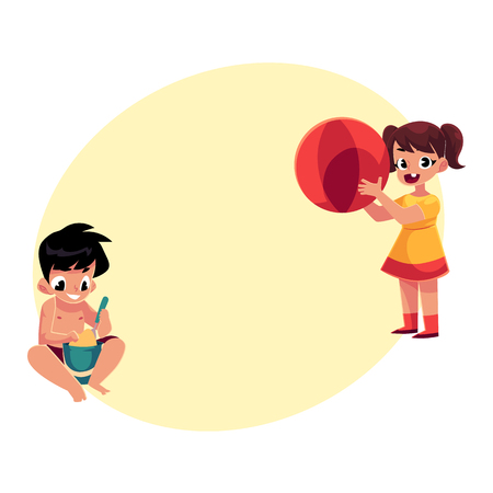 Two kids playing on sandy beach, girl with big ball, boy with bucket and shovel, cartoon vector illustration with space for text. Kids playing on beach with sand and inflatable ball