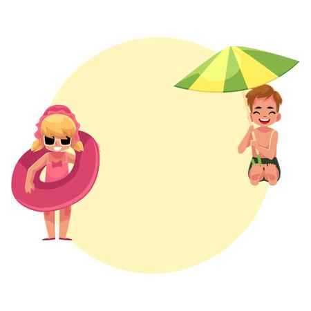 Sonnenschirm strand comic  Babystrandsatz, -jungen Und -mädchen, Die Mit Ball, Aufblasbarem ...