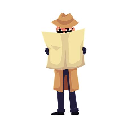 Grappig detectivekarakter die op iemand spioneren, die zich achter krant, beeldverhaal vectordieillustratie verbergen op witte achtergrond wordt geïsoleerd. Volledig lengteportret van grappig detectivekarakter bij het toezichtwerk