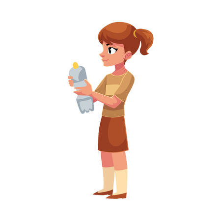 Girl holding plastic bottle, waste, garbage recycling concept, cartoon vector illustration isolated on white background. Full length portrait of girl with a plastic bottle, garbage collection