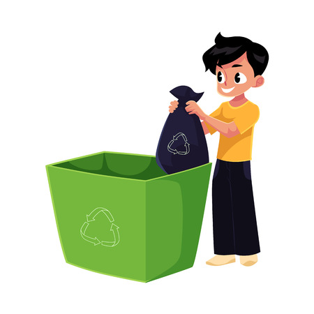 Boy putting garbage bag into trash bin, waste recycling concept, cartoon vector illustration isolated on white background. Full length portrait of boy throwing garbage bag into trash bin
