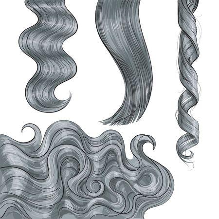 Reeks glanzende lange grijze eerlijke rechte en golvende haarkrullen, schetsstijl vectordieillustratie op witte achtergrond wordt geïsoleerd. Set van hand getrokken realistische gezonde, glanzende grijze, vlassen haar krullen