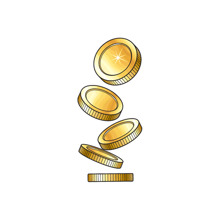 Vector golden falling coins illustration. Cartoon golden rain isolated on a white background. Dropping shiny money. Profit, wealth ,success concept. Sign of banking, finance business. Winning symbol