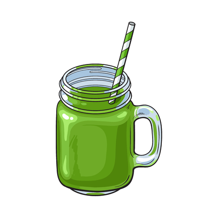 Hand drawn matcha green tea cocktail, drink, smoothie in glass jar, mug served with straw, sketch vector illustration isolated on white background. Hand drawn matcha tea drink in jar shaped mug Illustration