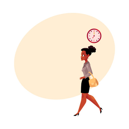 Young black, African American businesswoman going to work in the morning, clock showing time, cartoon vector illustration with space for text. Black businesswoman going to work in the morning