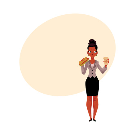 Young black, African American businesswoman eating sandwich, holding coffee cup, lunch break, cartoon vector illustration with space for text. Black businesswoman eating lunch on the go