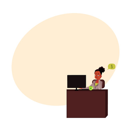 Black, African American businesswoman, secretary, sitting in office, thinking of money, cartoon vector illustration with space for text. Black businesswoman, secretary thinking of money 向量圖像