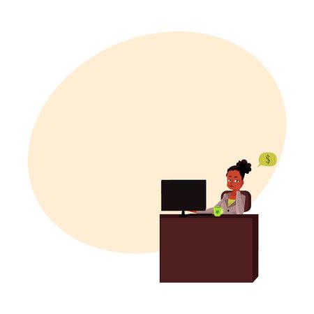 Zwarte, Afrikaanse Amerikaanse zakenvrouw, secretaris, zitten in kantoor, denken aan geld, cartoon vectorillustratie met ruimte voor tekst. Zwarte zakenvrouw, secretaresse denken aan geld