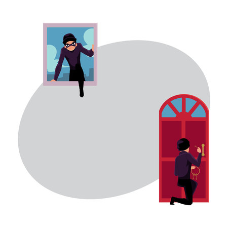 Thief, burglar breaking in house through front door and window, cartoon vector illustration with space for text. Burglar, thief breaking into house by snapping door lock, climbing in window Illustration
