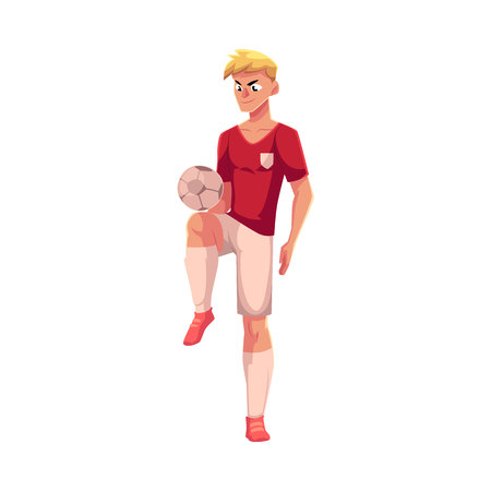 Soccer, football player playing keepie-uppie, ball juggling, cartoon vector illustration isolated on white background. Professional soccer player juggling a football ball, kicking it up with knee