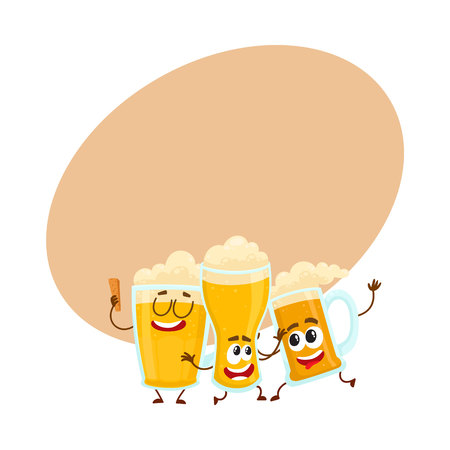 Three funny smiling beer glass and mug characters, friends having fun, dancing together, cartoon vector illustration with space for text. Cute and funny beer mug and glass characters, mascots