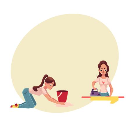 Vrij jonge vrouw, huisvrouw die huishoudelijk werk doen - strijken, die de vloer, beeldverhaal vectorillustratie met ruimte voor tekst wassen. Mooie vrouw, meisjeswasvloer, strijken, schoonmaak van haar huis