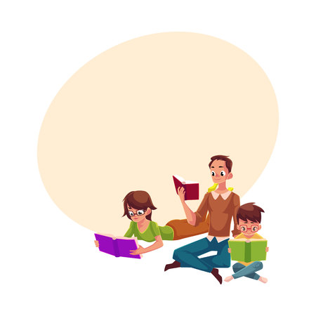 Man, woman, boy reading books sitting and lying on floor, cartoon vector illustration with space for text. Man, woman and boy, father, mother and son reading books, sitting, lying on floor