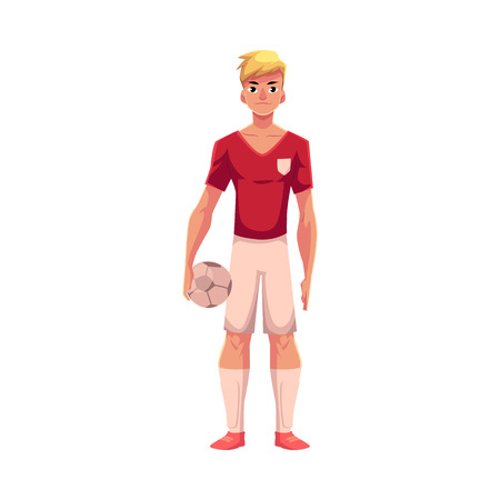 Knappe blonde voetbal, voetballer in eenvormige status en het houden van bal, beeldverhaal vectordieillustratie op witte achtergrond wordt geïsoleerd. Professionele voetballer voetbal bal, vooraanzicht