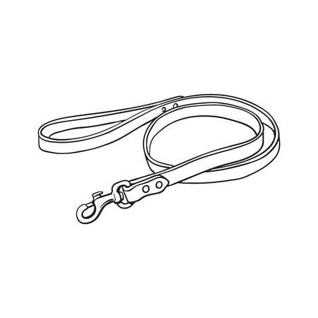 Simple pet, cat, dog brown leather leash with metal fastener, black and white sketch style vector illustration isolated on white background. Hand drawn pet, dog leash, lead made of thick leather