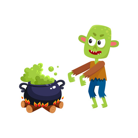 Scary green zombie monster and Halloween caldron with boiling potion, cartoon vector illustration isolated on a white background. Halloween monster, zombie and caldron with potion boiling on fire Illustration