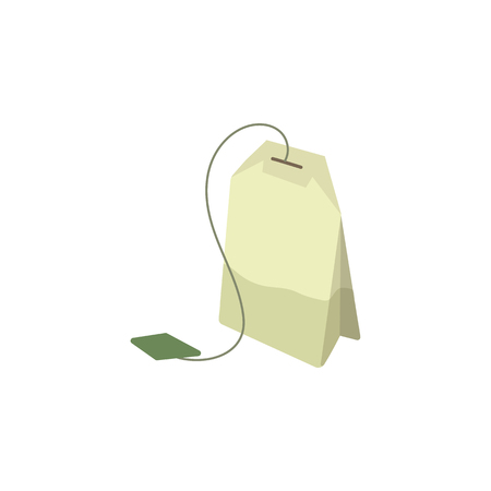 Vector green tea bag flat isolated illustration on a white background. Cartoon herbal tea bag. Healthy beverage, lifestyle concept