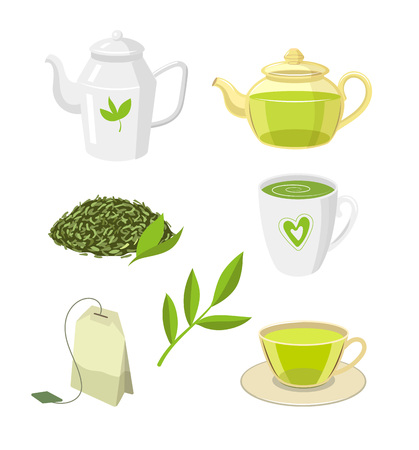 Vector tea ceremony set flat isolated illustration on a white background. Cartoon cap of green tea on the saucer, herbal tea bag transparent teapot, kettle leaf tea. Healthy lifestyle concept