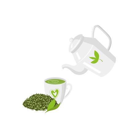 Vector teapot , mug of green tea and leaf tea set. flat isolated illustration on a white background. Cartoon green tea teapot. Healthy lifestyle concept