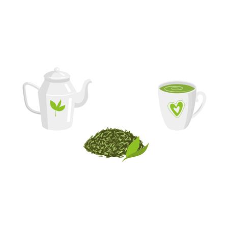 Vector green leaf tea, transparent teapot and mug of tea set. Flat isolated illustration on a white background. Cartoon herbal tea set. Healthy beverage, lifestyle concept