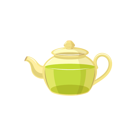 Vector tea kettle , transparent teapot flat isolated illustration on a white background. Cartoon green tea teapot. Healthy lifestyle concept
