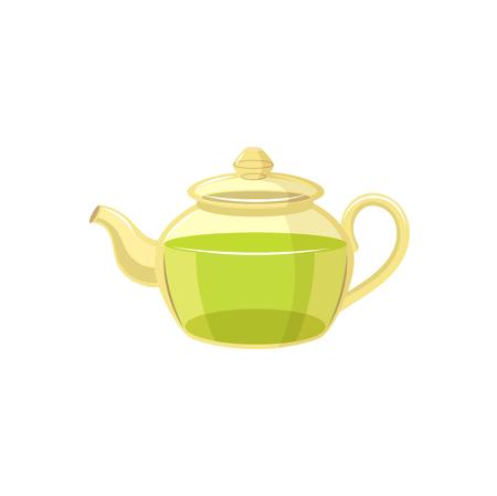 Vector tea kettle , transparent teapot flat isolated illustration on a white background. Cartoon green tea teapot. Healthy lifestyle concept
