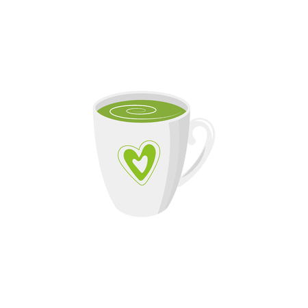 Vector mug of green tea isolated illustration on a white background. Cartoon capof green herbal refreshing drink . Healthy beverage, lifestyle concept