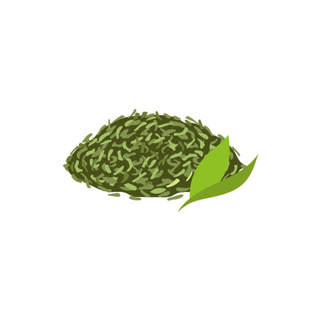 Vector leaf tea flat isolated illustration on a white background. Cartoon herbal dried tea leaves. Healthy beverage, lifestyle concept