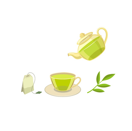 Vector tea ceremony concept flat isolated illustration on a white background. Cartoon cap of green tea on the saucer, herbal tea bag, herb branch and transparent teapot. Healthy lifestyle concept