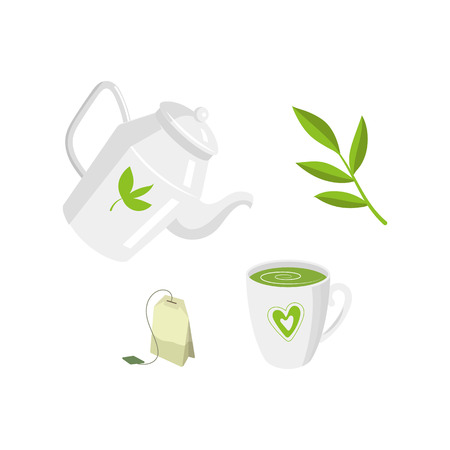 Vector tea ceremony set flat isolated illustration on a white background. Cartoon cap of green tea on the saucer, herbal tea bag, herb transparent teapot, kettle leaf tea. Healthy lifestyle concept