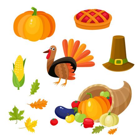 Reeks kleurrijke thanksgiving symbolen - Turkije, pompoen, pelgrimshoed, graan, pastei, hoorn van overvloed, beeldverhaal vectordieillustratie op witte achtergrond wordt geïsoleerd. Cartoon set thanksgiving symbolen