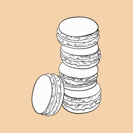 black and white stack of macaron, macaroon almond cakes, sketch style vector illustration isolated on color background. Stack, pile of almond macaron, biscuits, sweet and beautiful dessert