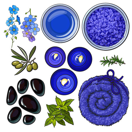 Blue set of spa salon accessories - basalt stones, massage oil, towel, candles, aromatic salt, sketch vector illustration on white background. Spa set - stones, massage oil, rolled up towel, candles