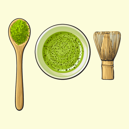 Hand drawn cup of green tea, spoon of matcha powder and bamboo whisk, sketch vector illustration isolated on background. Realistic hand drawing of matcha powder, bamboo whisk and green tea cup