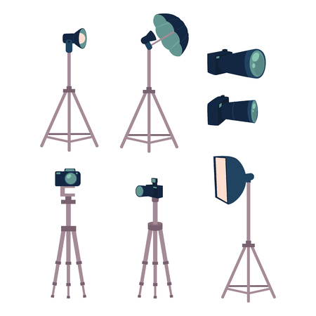 Professional photo studio equipment set - camera, tripods, flash, strobe light, cartoon vector illustration on white background. Set of cartoon style professional photo, photographer studio equipment Çizim