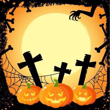 Halloween banner, poster, postcard design with three spooky pumpkin lanterns on cemetery background, cartoon vector illustration. Cartoon Halloween banner, poster with pumpkins and cemetery Illustration