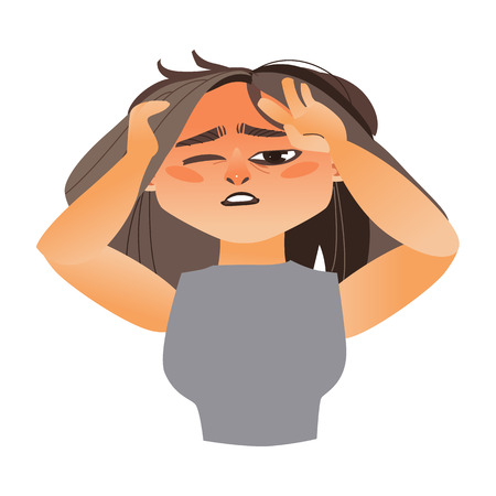 Woman having severe headache, migraine, cartoon vector illustration isolated on white background. Half length portrait of girl, woman with severe headache, migraine