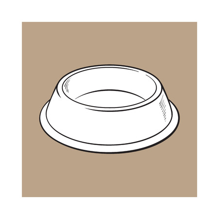 empty the bowl: Empty green shiny plastic bowl for pet, cat, dog food, black and white sketch style vector illustration isolated on brown background. Hand drawn empty bowl, plate for pet, dog, cat food