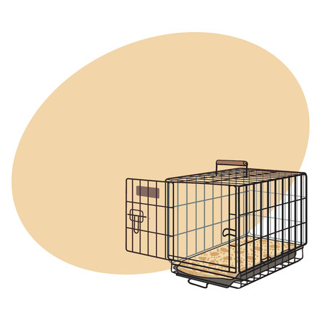 Metal wire cage, crate for pet, cat, dog transportation, sketch style vector illustration with space for text. Hand drawn metal wire dog crate, cage on white background