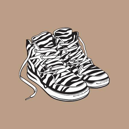 heavy: Pair of zebra patterned sneakers, sport shoes from 90s, sketch vector illustration isolated on brown background. Hand drawn pair of old fashioned, retro style sneakers from nineties, 90s pop culture