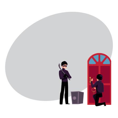 Dief, inbreker die binnenshuis breken, die open veilige doos, beeldverhaal vectorillustratie met ruimte voor tekst gaan kracht. Inbreker, dief die het deurslot opent, en de kluis opent met bandenlichter