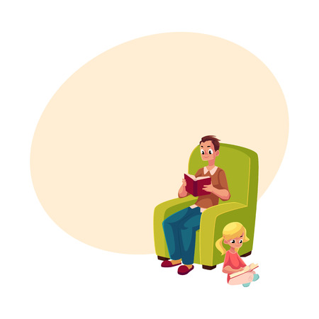 Young man sitting in comfortable armchair and little girl reading books sitting legs crossed on the floor, cartoon vector illustration with space for text. father and daugther reading 向量圖像