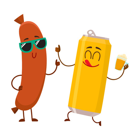Funny beer can and frankfurter sausage characters having fun together, cartoon vector illustration isolated on white background. Funny smiling beer can character giving thumb up, sausage poiting to it