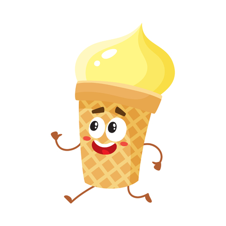 Funny smiling yellow ice cream character in wafer cup, cartoon style vector illustration isolated on white background. Cute smiley vanilla ice cream cup character with eyes and legs