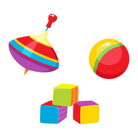 Set di giocattoli per bambini vettoriali in stile piatto. Blocchi cubici, palla, giocattoli whirligig. Illustrazione isolata su uno sfondo bianco. Istruzione per i bambini, crescita e sviluppo. Vettoriali