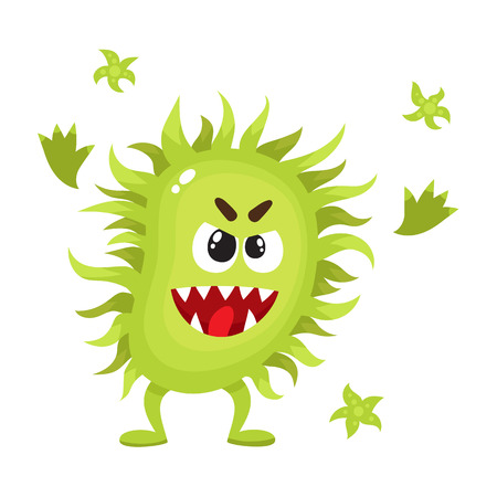 Ugly green virus, germ, bacteria character with human face, cartoon vector illustration on white background. Scary bacteria, virus, germ monster with human face and sharp teeth Ilustração